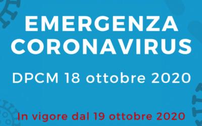 DPCM del 18 ottobre 2020.